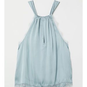 Blue Satin and lace H&M halter top